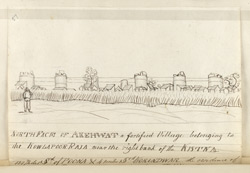 f.57' North Face of Akehwat, a fortified Village belonging to the Kowlapoor Raja near the right bank of the Kistna.